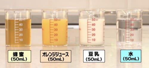 はちみつ、オレンジジュース、豆乳、水