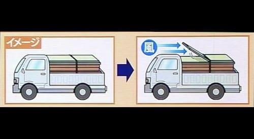 畳が当たったトラック