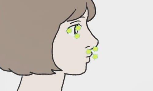 目や鼻に刺激物質が届く