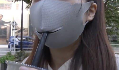 タピオカも飲めるマスク