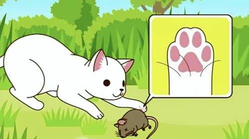 獲物を捕まえる猫